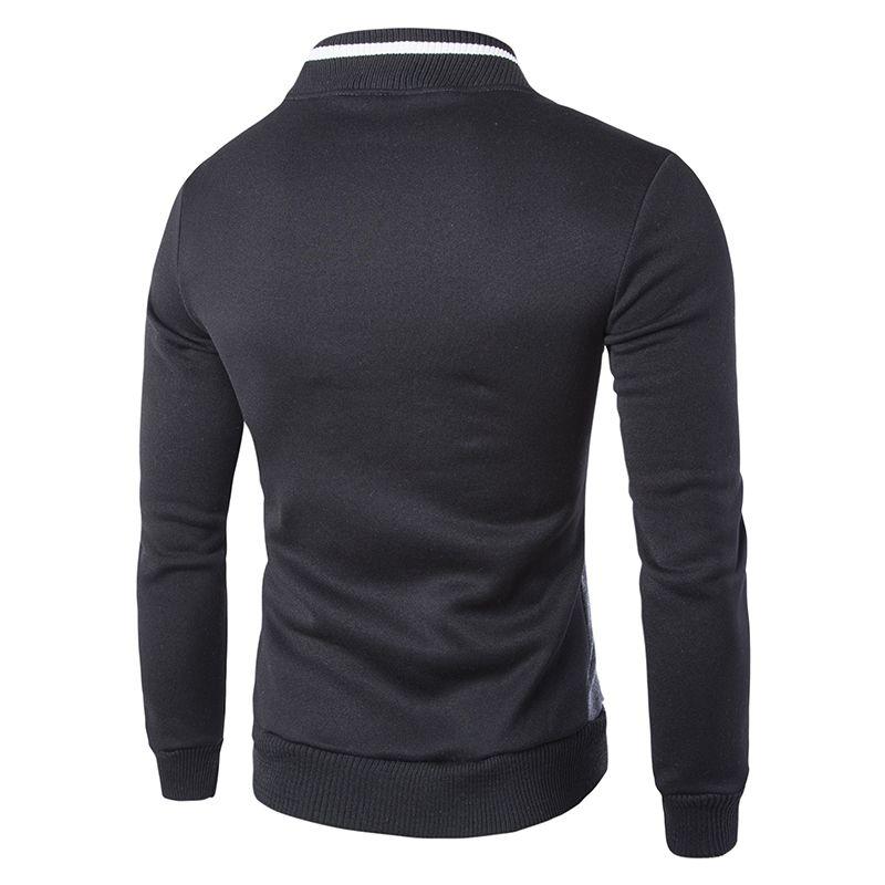 Осень - длинный рукав мода молния дизайн мужская куртка лоскутное высокое качество стенд воротник Мужские толстовки белый / темно-серый