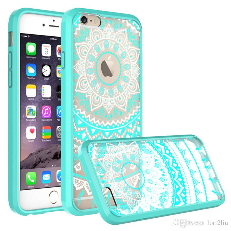 on sale 60cf8 c8931 Mandala Totem Series Case For IPhone7 7 Plus Henna Floral Flower Lace Clear  Design Printed PC Hard Back Cover Shell Hard TPU Retail Pp Bag Make Your ...