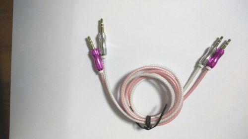 2 stücke (1pink + 1 silber) 3,5mm Mini Jack Stecker auf Stecker Stereo Audio Adapter Kabel