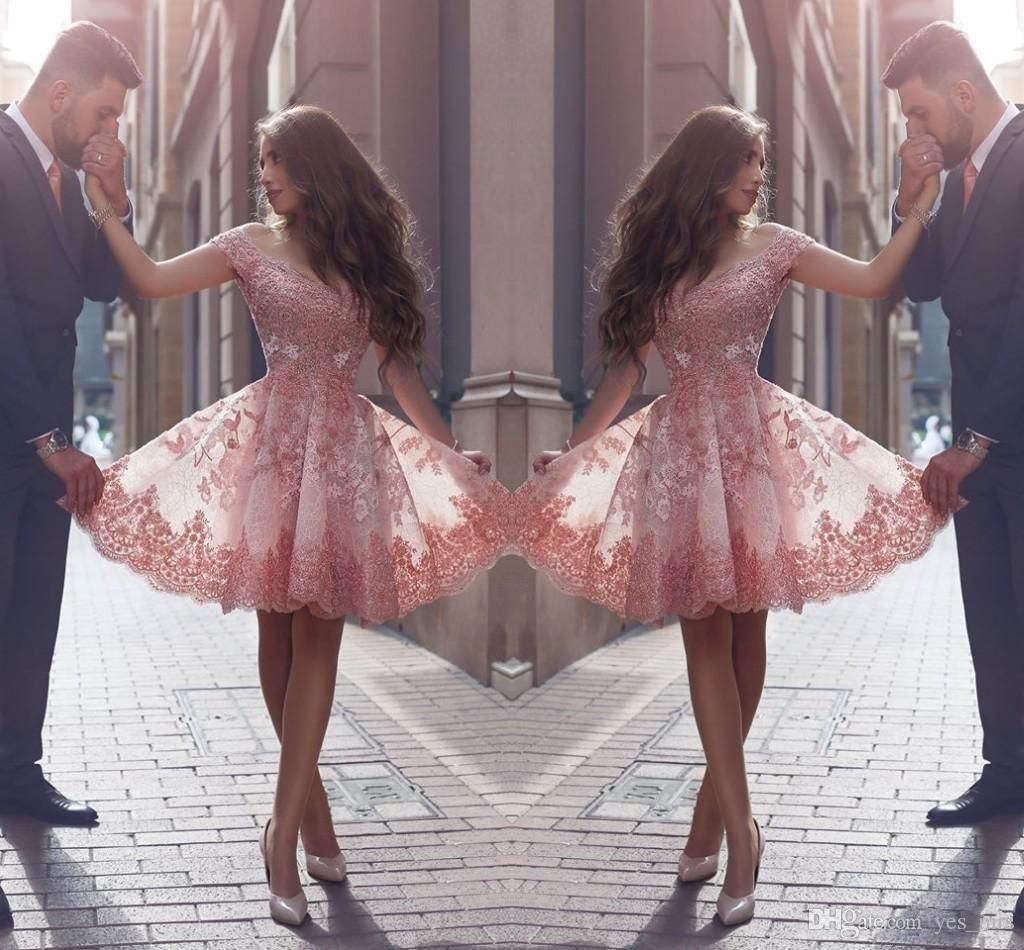 2020 Peach Árabe Árabe Vestidos Homecoming Cap Sleeves Laço Curto Appliques Frisado 3D Floral Flores Floral Tule Cocktail Dress Party Partido Vestidos De Prom