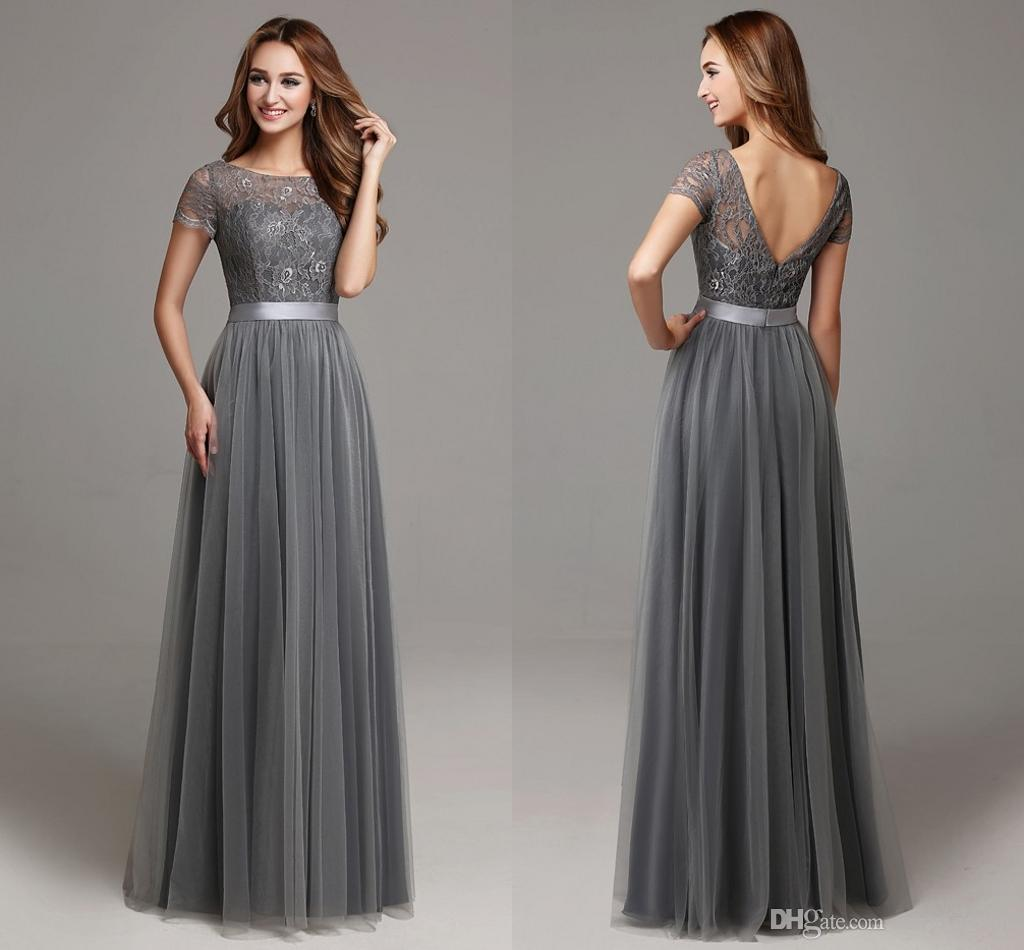 2016 grey long modest lace tulle floor length women bridesmaid 2016 grey long modest lace tulle floor length women bridesmaid dresses short sleeves sheer neckline formal wedding party dress hy1418 2018 from sexygowns ombrellifo Image collections