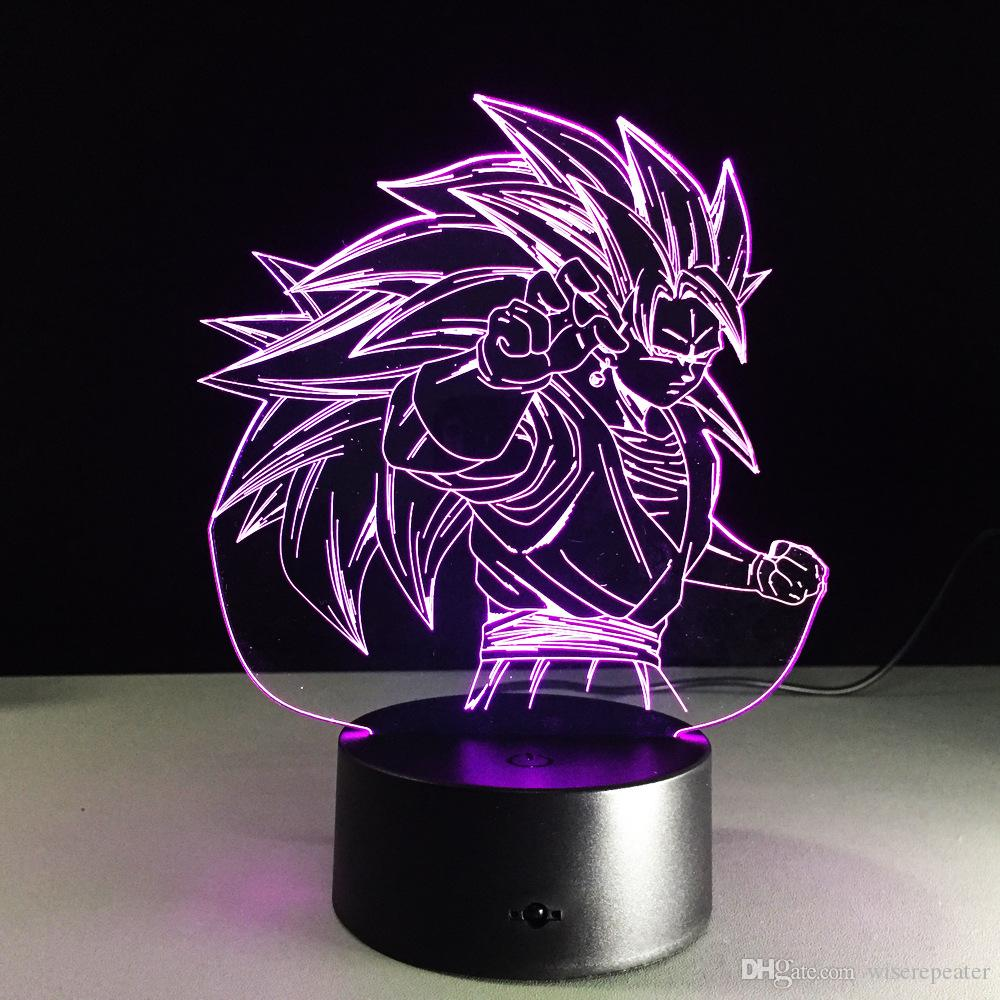 2016 Goku Style 3D Optical Illusion Lamp Night Light DC 5V USB Charging 5th Battery Wholesale Dropshipping Free Shipping