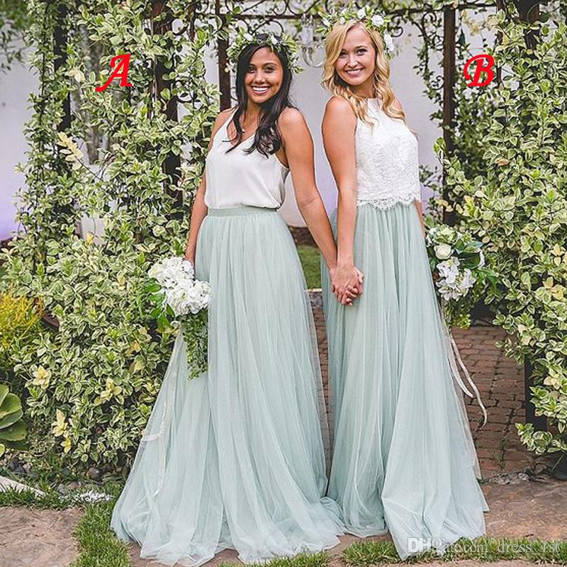 2019 Bohemian Country Bridesmaid Dresses Cheap White Top Mint Sage Tulle Skirt Two Pieces Maid Of Honor Dresses Gowns for Wedding Guest