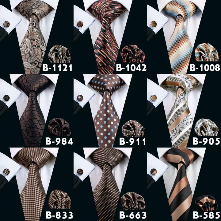 Conjunto de cortes de cuello para hombre marrón Alta calidad Accesorios de moda baratos clásicos corbatas adultas Corbatas para corbatas para hombre envío gratis