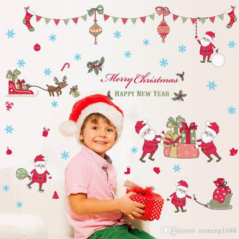 Santa Claus Removable Mural Wall Stickers Christmas Creative Snowman Window Stickers Home Decor for Home Shops Decoration Merry Christmas