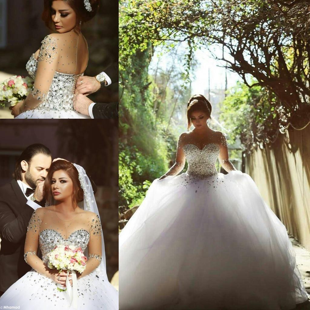 2021 롱 소매 볼 가운 웨딩 드레스 모조 다이아몬드 크리스탈 캡 슬리브 웨딩 파티 드레스 신부 가운