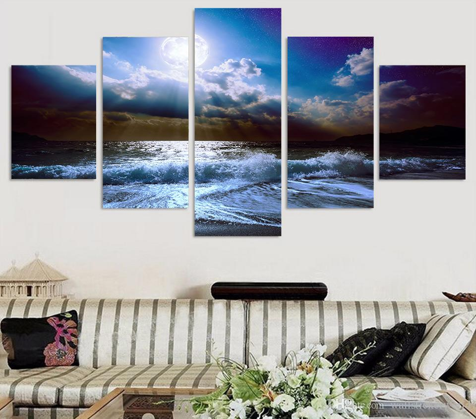 5 Pcs/Set Framed Printed moon moonlight night nature Painting Canvas Print room decor print poster picture canvas Free shipping/ny-4534