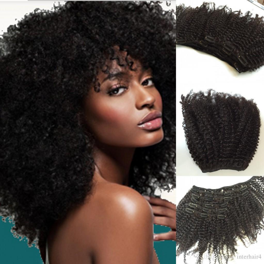Virgin del brasiliano dei capelli afro crespi clip ricci in estensioni dei capelli umani 6pcs120g African American clip nelle estensioni dei capelli umani
