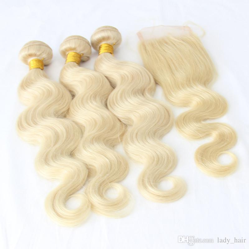 9A Malaysian Blonde Menschenhaar 3 Bundles Mit Verschluss 4 Stücke Los # 613 Blonde Malaysische Körperwelle Haareinschlagfäden Mit 4x4 Spitzeschliessen Kostenloser Teil