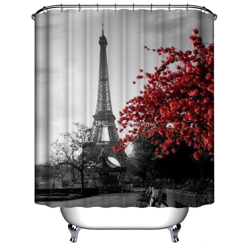 Red shower curtain -  Waterproof Eiffel Tower Red Flower Bath Polyester Fabric Bathroom Shower Curtain Thicker Curtain W Holders