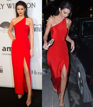 Kendall Jenner High Slit Evening Dresses Red Prom Dress One Shoulder Red Carpet Dresses Split Evening Gowns Vestido De Festa Longo Robe De Cute