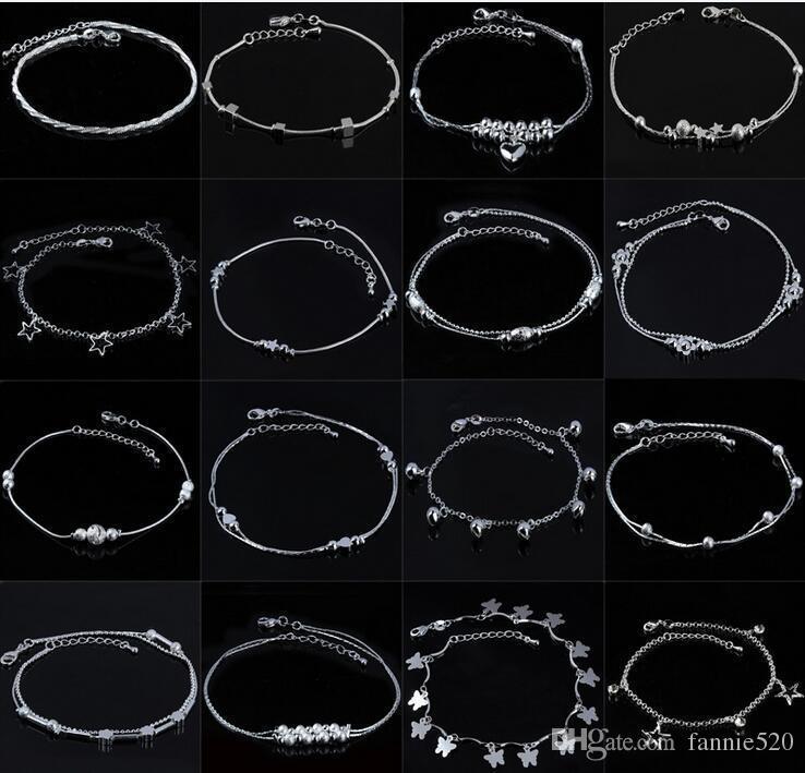 925 bracelets de cheville en argent bijoux pour femmes chaîne en argent plaqué trèfle étoiles croix perles cheville bracelets été pied de plage bijoux