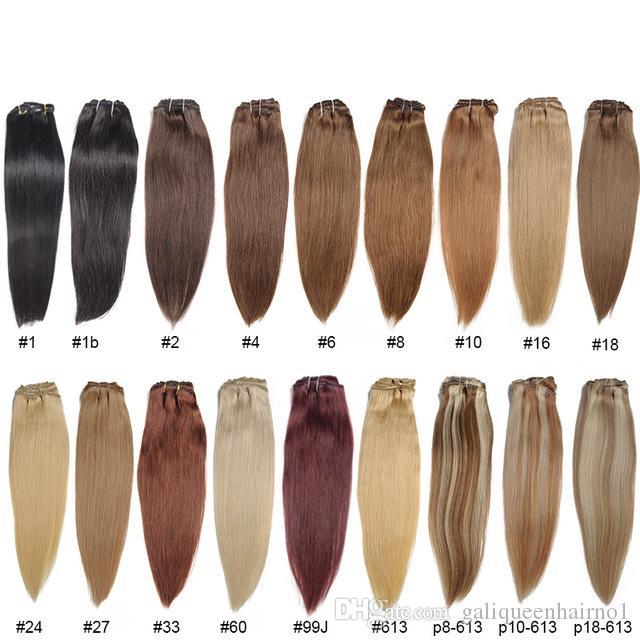 """30 Renkler Brezilyalı Düz Saç 16 """"32 '' Düz Saç Örgüleri 100% İnsan Saç Uzantıları Dokuma Atkı Sarışın Kahverengi Auburn Burgundy"""