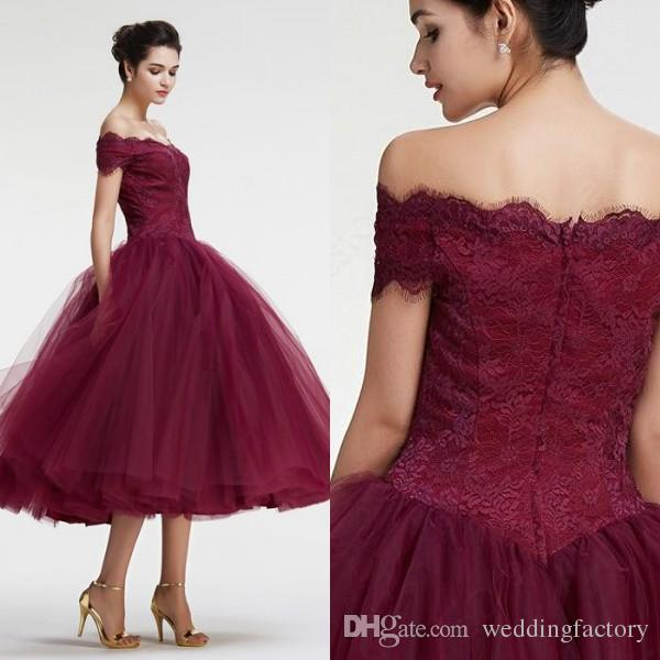 new lower prices authentic quality top-rated newest 2016 Gorgeous Maroon Off The Shoulder Short Prom Dress Cocktail Dresses  Evening Party Gowns Lace Top Tea Length Party Gowns Cheap Black Prom  Dresses ...