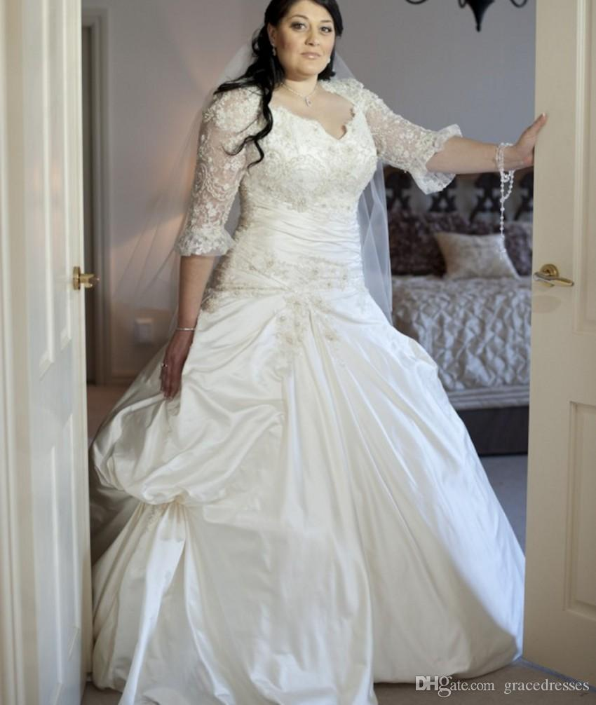 Plus Size Fit And Flare Wedding Dresses With Illusion Long Sleeve  Sweetheart Luxury Beaded Corset Ball Gown Bridal Dress 2016 Winter New Ball  Gowns ...