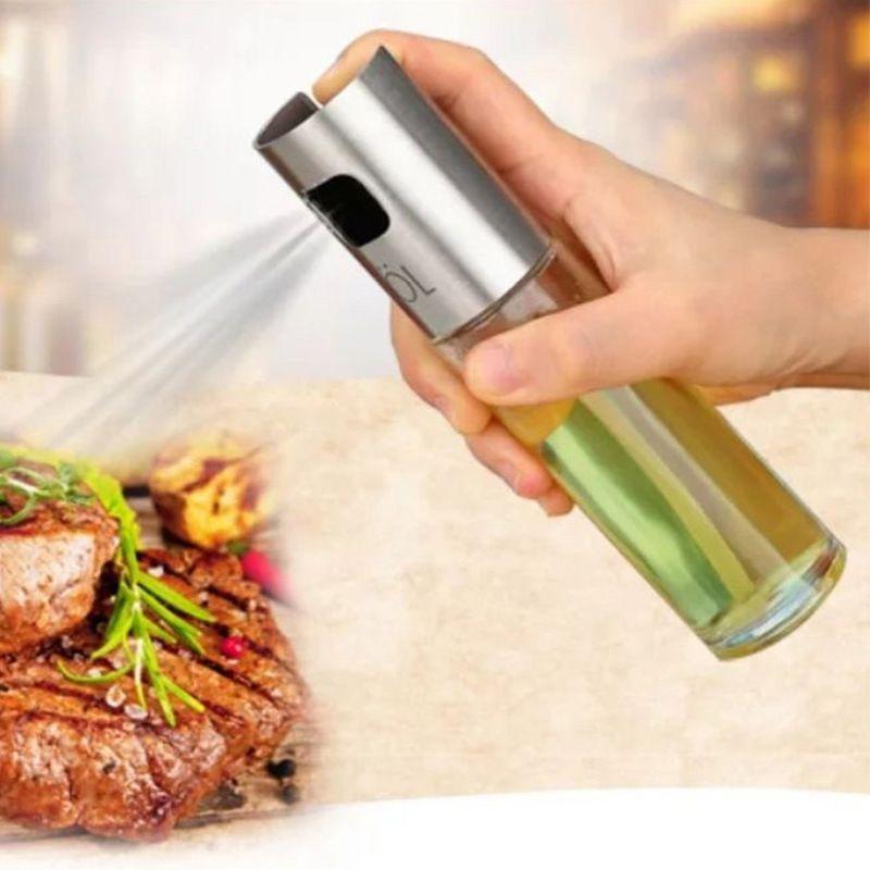 Glass Olive Spraying Oil Bottle Sprayer Stainless Steel Edible Oil Pot Leak-proof Drops Spice Jar Seasoning Kitchen Tools