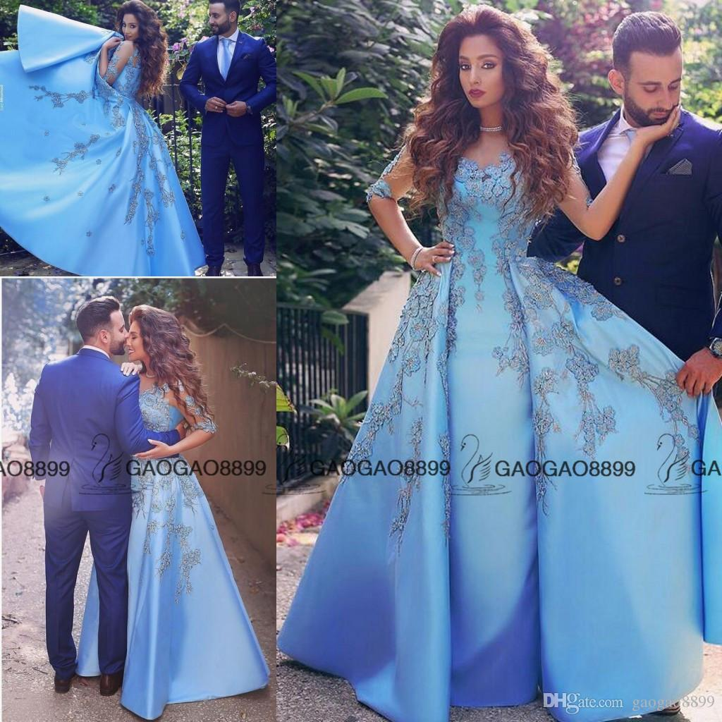 Elegant Baby Blue Prom Dresses 2019 Lace Appliques Half Long Sleeve A Line  Satin Arabic Dubai Women Formal Party Evening Dresses 8th Grade Prom
