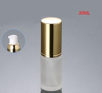 30 ml en verre dépoli presse à presser en or bouteille avec bouchon en or, gros gel 30 ml bouteille en verre de lotion, 1 once vide bouteille en verre