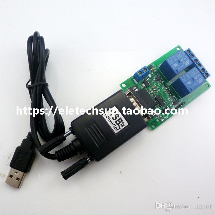 DC 9V 12V 2 채널 RS232 릴레이 제어 스위치 USB to RS232 DB9 스마트 홈용 UART 직렬 포트