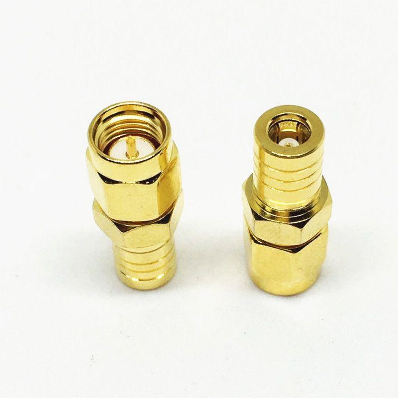 10Pcs  Lot Freeshipping الذهب والنحاس SMB أنثى إلى SMA ذكر جاك التوصيل مستقيم محول RF محوري موصل محوري