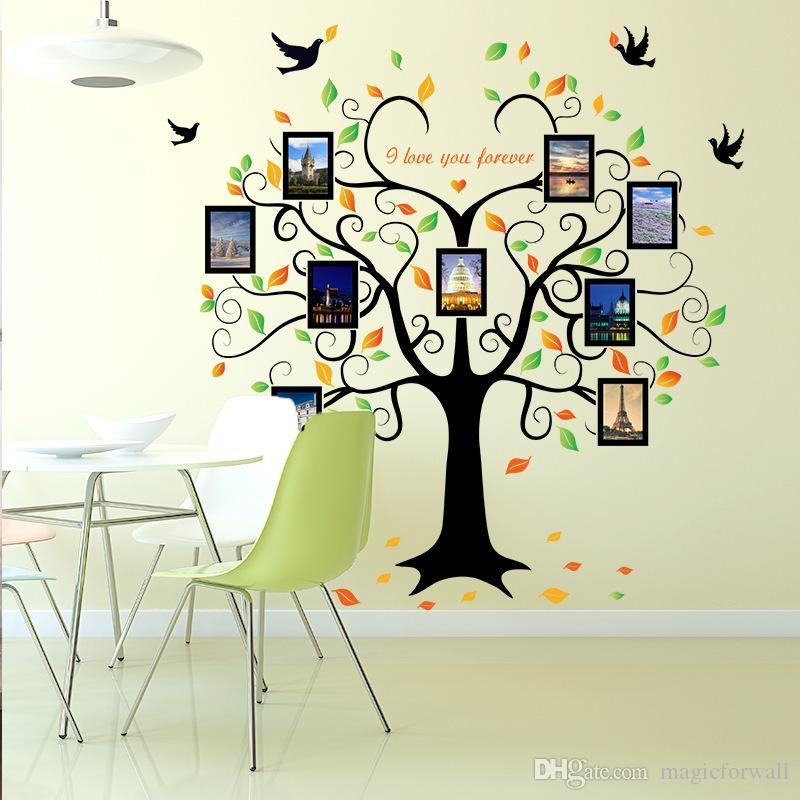 Großhandel Foto Liebe Herzform Baum Fliegen Vögel Wandtattoos Wohnzimmer  Schlafzimmer Wandaufkleber Ich Liebe Dich Für Immer Memory Tree Wall Poster  ...