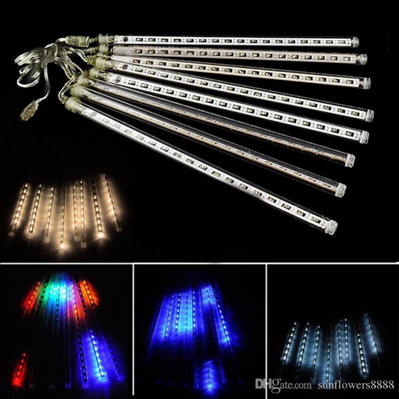 높은 품질 20CM 30CM 50CM 8PCS / 설정 유성우 비가 튜브 LED 크리스마스 불빛 웨딩 파티 가든 라이트 AC100-240V EU 미국 플러그