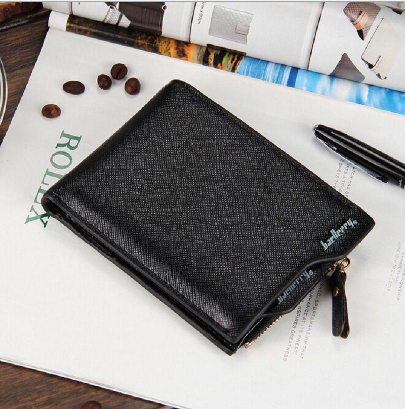 Synthetci Leather Slim Brieftaschen Mann Geldhalter Kurzen Reißverschluss Brieftasche Geldbörse Markendesigner Baellerry Herren Geldbörse