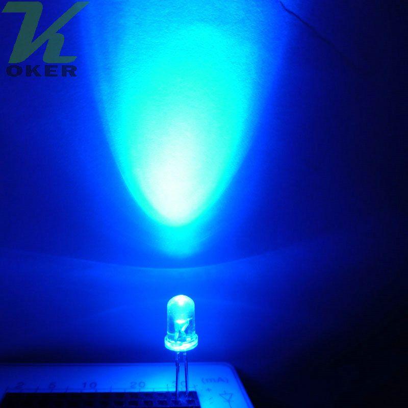 1000pcs 5mm Blue Round Water Water Clear LED Light Light Lampada Emissione diodo Ultra Bright Plug-in Plug-in DA TE Kit Pratica grandangolare