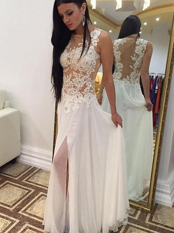 Vestidos de Fiesta 2016 Sheer Branco Longo Chiffon Vestidos de Baile de Renda Corpete Dividir Andar de Comprimento Prom Vestido Ocasião Especial Partido Vestidos de Noite