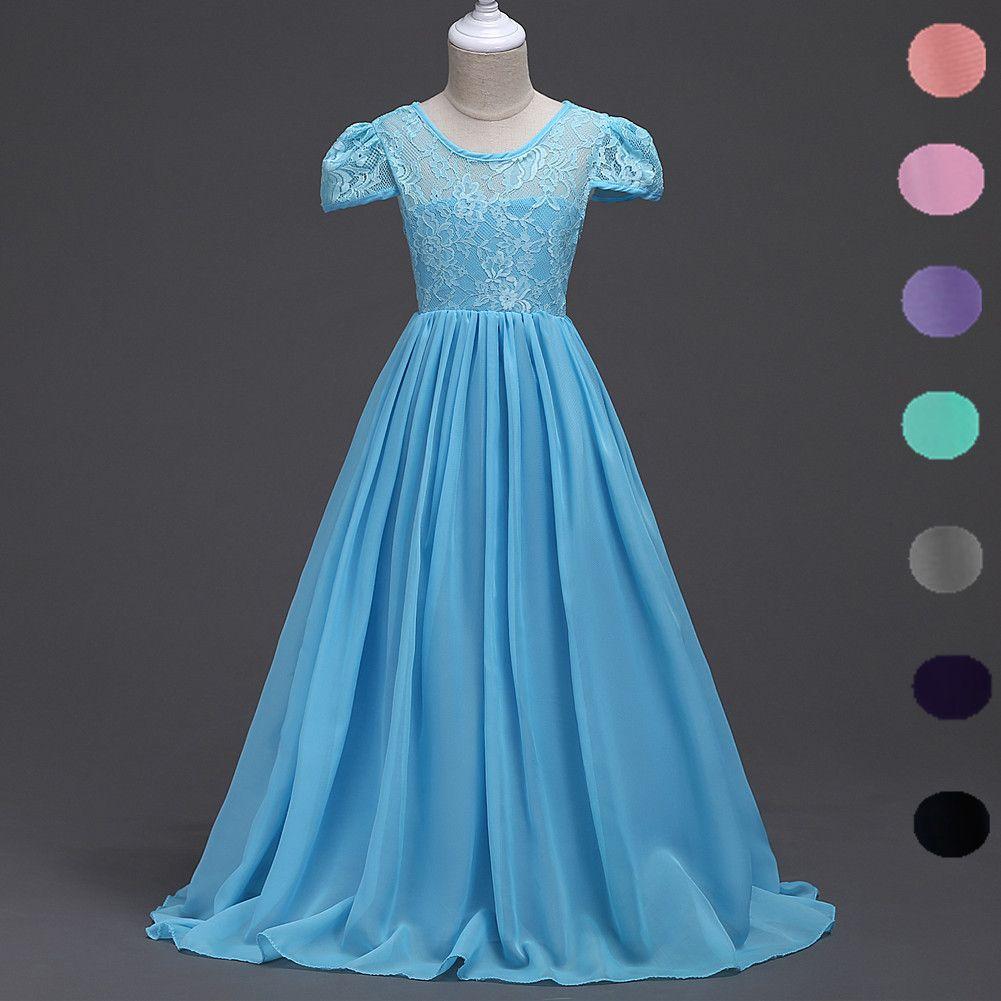 Kids Girls Chiffon Lace Cap Sleeves Flower Dress Formal Party Ball Gown Prom Princess Bridesmaid Children Tutu Dress