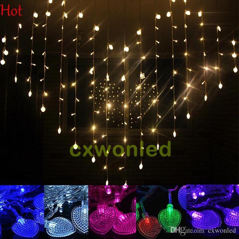 LED сердце Форма Струнные занавес свет 220V 110V СИД Занавес СИД 124pcs легкие животных, употребляемые в пищу 1.5M * 1.2M свадебные рождественские украшения свет