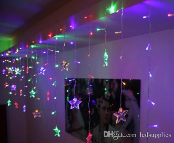 4Mx0.7M день рождения праздник огни расположены пятиконечной звезды струнного фонаря звезды светодиодной занавесом фары