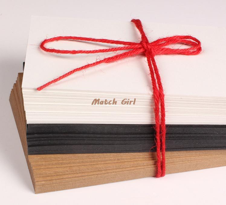 Çevre Dostu 10 * 15cm Boş Beyaz Siyah Kraft Kağıt İçin Kartvizit İleti Kart Kelime Kartları Diy Tebrik Kartları Suluboya Kartları
