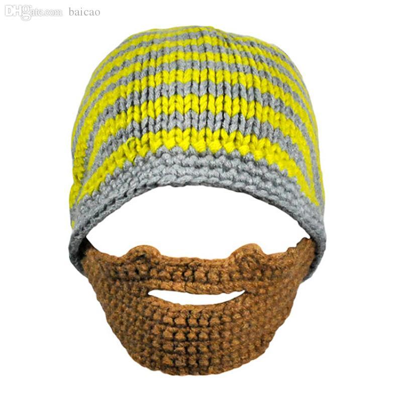 Großhandels-Heißer Verkaufs-warmer gestrickter Winter-Hut erwachsener lustiger Bart-Hut für Mann kühlen Woolen Hip Hop-Hut ab