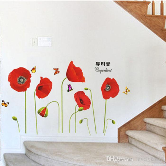 ... Lovely Red Poppy Flower Wall Stickers Floral Wall Decals Wallpaper for Kids Girls Bedroom Living Room  sc 1 st  DHgate.com & Lovely Red Poppy Flower Wall Stickers Floral Wall Decals Wallpaper ...