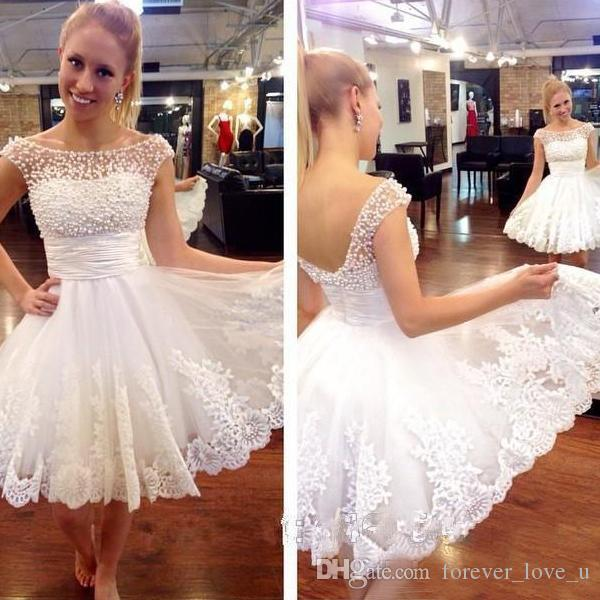 Gorgeous Short Homecoming Dresses A Line Sheer Bateau Neckline Pearls White Dress Lace Appliques Graduation Dressed Custom Made