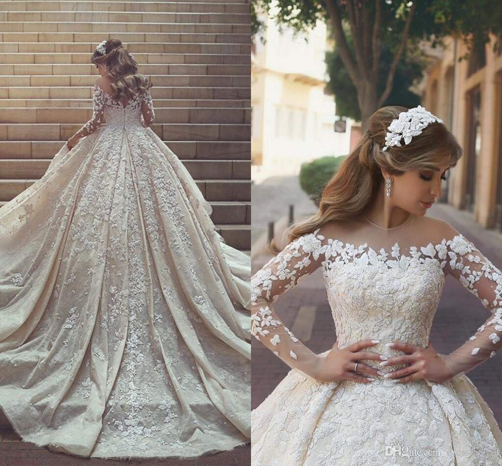 Gorgeous Lace Wedding Dresses Ball Gown Sheer