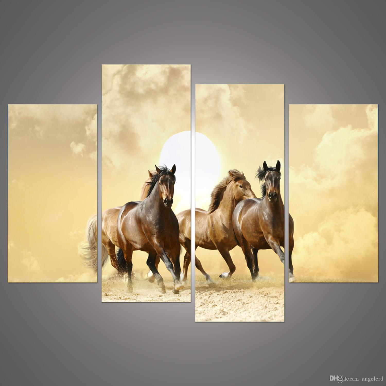 Online Cheap 4panel Modern Horse Canvas Painting 4 Panel Set ...