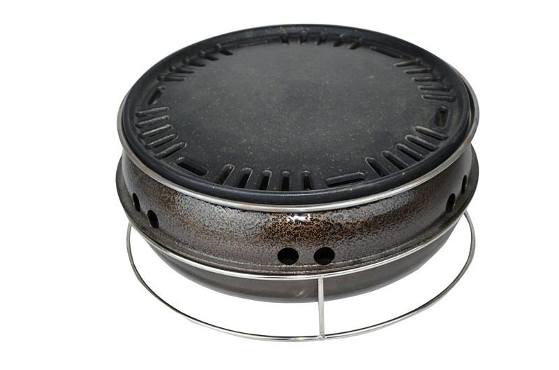 Corée du grill charbon extérieur professionnel poêles barbecue intérieur moule rond de barbecue poêle 31 * 16cm 014