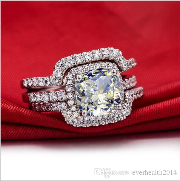 뜨거운 호화로운 새로운 신부 세트 결혼 반지 세트 3 개의 Karat G-H 방석 공주는 고품질 NSCD 합성 다이아몬드 3PC 반지 세트를 자른다