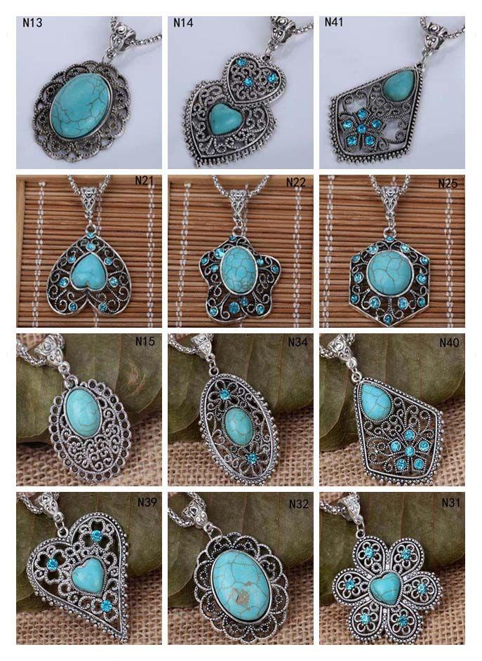 Collana pendente per perline europee DAY da donna DFMTQN2, collana tibetana in argento cavo in argento (con catena) 12 pezzi molto misto stile