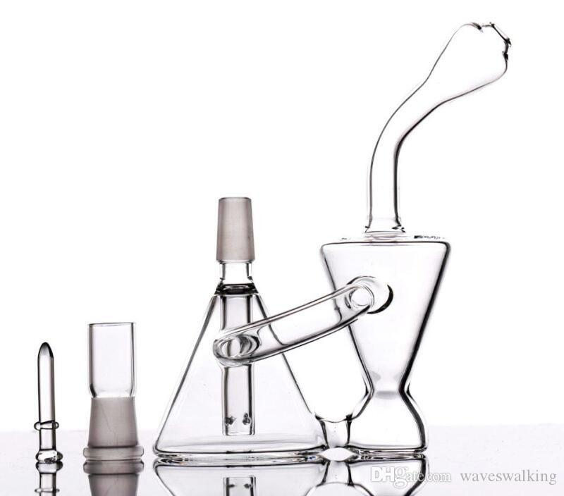 2019 New Mini Portable Bongs Free Shipping Pocket Glass Bongs Water Pipes with Inline Perc Recycle Clear Small Bongs Pipes