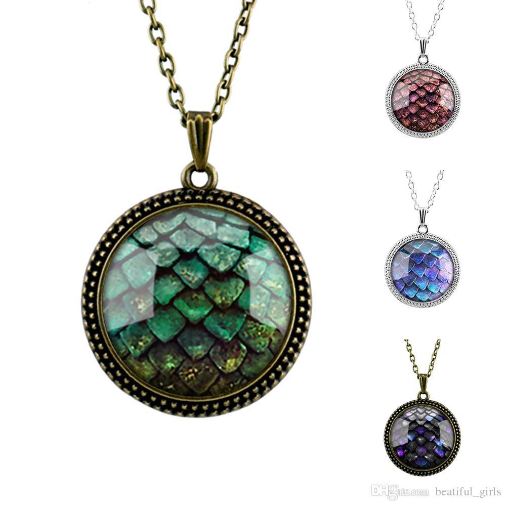 1pcs / lot Jeu de trônes vert dragon oeuf verre cabochon dôme pendentif collier
