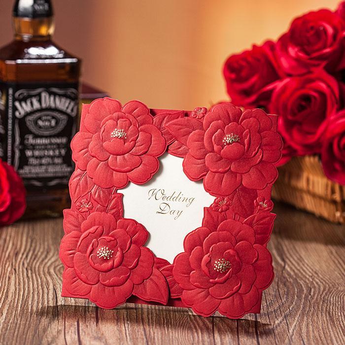 Wedding Invitations 2016 Red Free Printing Cutting