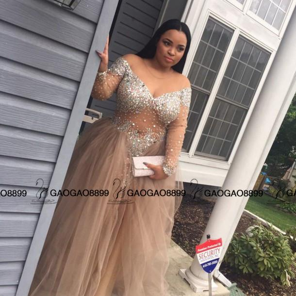 champange Sequined Plus Size long sleeve Prom Dresses A Line Pleats Cheap Party evening Formal Gowns Long Sparkling Vestido Formatura