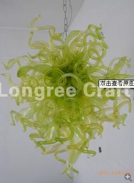 C97-Wedding Decor Green Coloured Blown Glass Chandelier Lighting Hanging Chain LED Crystal Flower Glass Chandelier for Sale