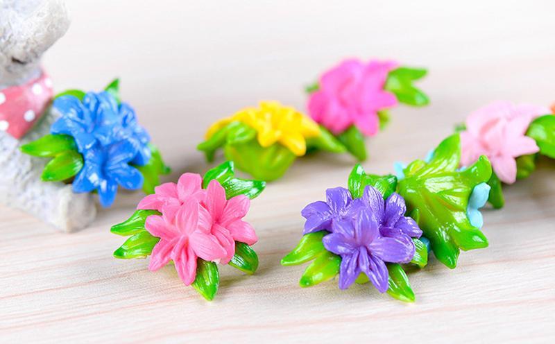 10pcs colorato simulazione fiori abbellimento decorazioni fata giardino miniature terrario figurine accessori per la casa cupcake topper