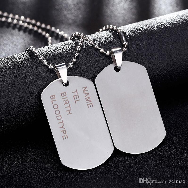 Novo Link Da Marca Cadeia Man colar Militar Do Exército Dog Tags Pingente De Colares De Aço Inoxidável Dos Homens de Jóias de Presente Choker Atacado