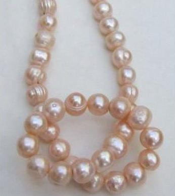 Gorgeous 11-12mm natural south seas pink baroque pearl necklace 18inch 14k gold clasp