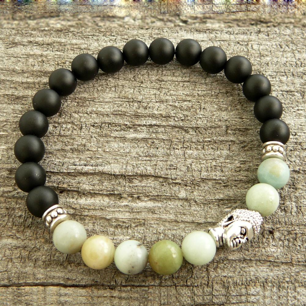 Mens Pulseira Gemstone Bracelet Bead dos homens pulseira pedra estiramento presentes pulseira do Yoga homens Pulseira